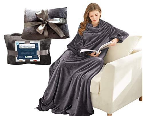 Kuscheldecke mit Ärmeln und Taschen, Geschenke für Frauen, Geburtstagsgeschenke für Mama, Schwester, Freundin, Einweihungsgeschenke Couch, Fernseher, Sofa-Decke, TV-Decke 150x200 cm (Dunkelgrau)