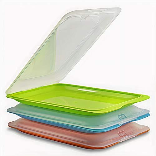 SEVENSTARS - Lote de 3 Porta embutidos y Alimentos Fresh de alta calidad buena conservación nevera, Reutilizables y Apilable, Color Naranja + Azul + Verde - Libre de BPA.