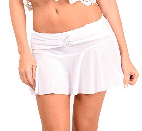 Arunta Sexy Falten Minirock mit eingearbeiteten Slip Weiß