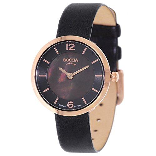 Boccia Damen Digital Quarz Uhr mit Leder Armband 3266-03