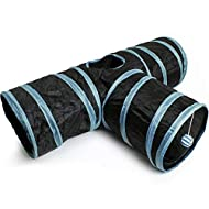 iGadgitz Home U6979-3 Way Cat Tunnel Collapsible Pet Tunnel Interactive Rabbit Tunnel with Hanging B...