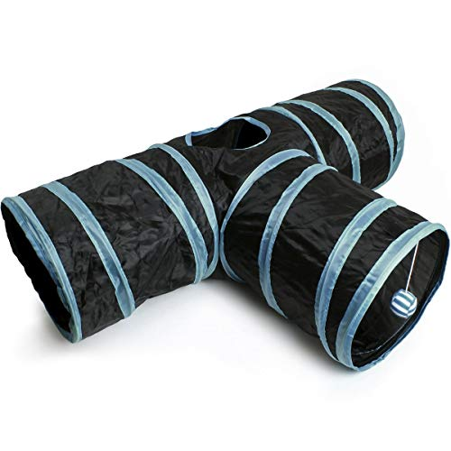 iGadgitz Home U6979-3 Way Cat Tunnel Collapsible Pet Tunnel Interactive Rabbit Tunnel with Hanging Ball - Indoor/Outdoor - Black/Blue Trim