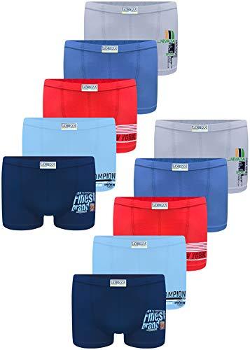 LOREZA ® 10 Pack Jungen Boxershorts aus Baumwolle Unterhosen 92-98 (2-3Jahre), Modell 5