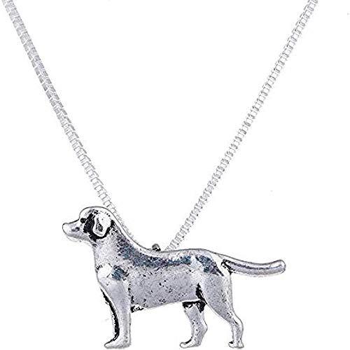 CAISHENY Labrador Collar Perro Plata Mascota Colgante Perro joyería Mujeres Collar Encanto Gargantilla