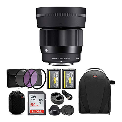 Sigma 56mm f/1.4 DC DN Contemporary Lens for Sony E Bundle with 64GB SD Card and Two Koah PRO NP-FW50...