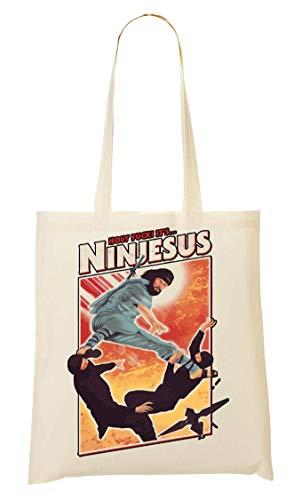 BakoIsland Ninjesus Ninja Jesus Funny Poster Sacchetto Di Tote Bag