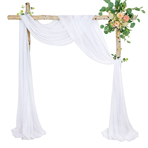 Vintage White Wedding Arch Drapes Fabric 2 Panels 6 Yards Sheer Background Curtains for Parties Ceremony Stage Reception Decorations
