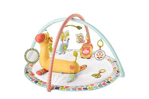 Fisher-Price Gimnasio Animalitos Salvajes y Girafa Cojín Activity, manta de juego para bebé recien nacido (GMG07)