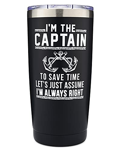 The Navy Knot - I'm The Captain - I'm Always Right 20oz Tumbler - Stainless Steel - For the Lake, Ocean, Travelers, Boaters, Boat Owners Accessories - Double-Insulated - Keeps Drinks Cold or Hot