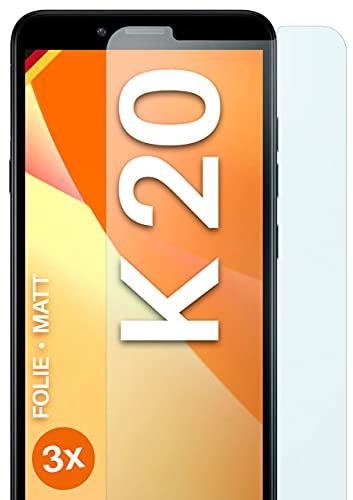 moex Schutzfolie matt kompatibel mit LG K20 - Folie gegen Reflexionen, Anti Reflex Bildschirmschutz, Matte Bildschirmfolie - 3X Stück