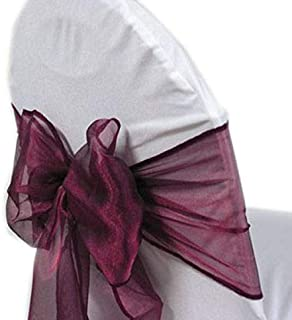 mds Pack of 100 Organza Chair Sashes Bow Sash for Wedding and Events Supplies Party Decoration Chair Cover sash -Dark Purple