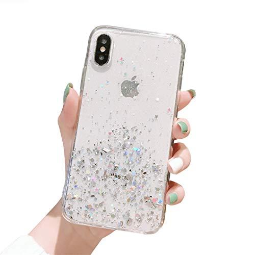 Jacyren Hülle iPhone XR, iPhone XR Handyhülle Ultra dünn Transparent TPU Silikon Hülle Glitzer Bunt 3D Bumper Cover Kratzfeste Stoßfest Schutzhülle Case Tasche für iPhone XR (11Transparent, iPhone XR)