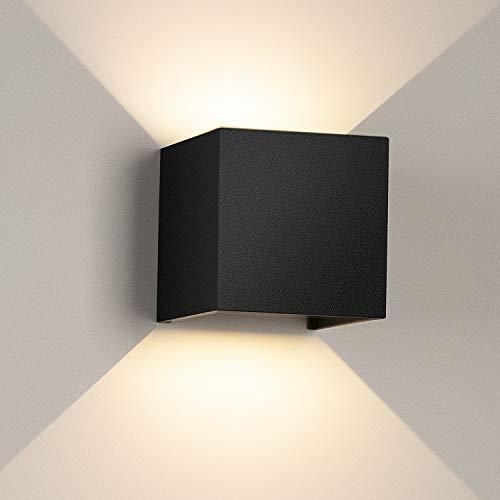 LEDMO 12W apliques pared interior LED,3000k blanco cálido Lámpara de pared led 1000lm, Impermeable IP65 Con Luz Blanco Cálido Lluminación de Exterior y De Interior,Negro (blanco cálido)