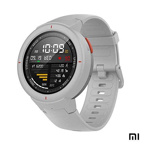 Amazfit Verge Xiaomi Smartwatch Deportivo - Reloj Deportivo GPS | Sensor de Frecuencia Cardíaca | IP68:Resistencia al Agua | Reproduce Música | Blanco (Versión Internacional) iOS-Android