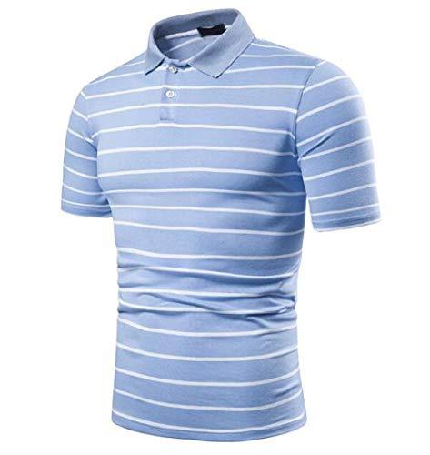CHENGNT T-Shirts Zomer Pinstripe Korte mouwen Poloshirt voor heren Lapel Werk Zakelijke Casual T-shirt met korte mouwen Lapel Top