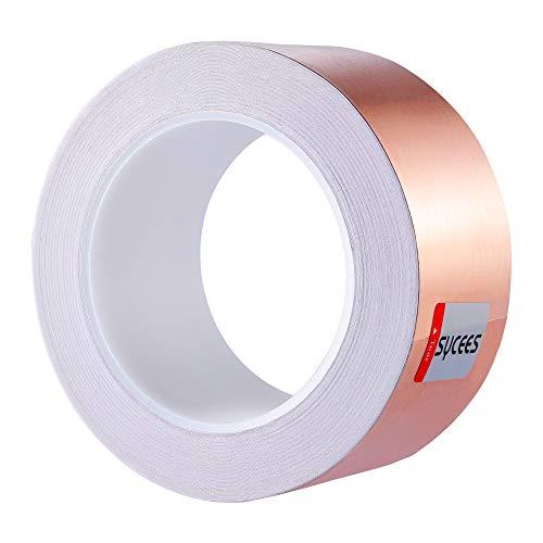 SYCEES 25M x 50mm EMI Kapton Tape Klebeband Selbstklebend Abschirmband Kupferfolie Kupferband Schneckenschutz.