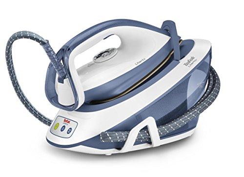 Tefal Liberty SV7020 Suela de cerámica Azul, Color blanco estación plancha al vapor - Centro de planchado (5,4 bar, 290 g/min, 120 g/min, Suela de cerámica, Azul, Blanco, 2 min)