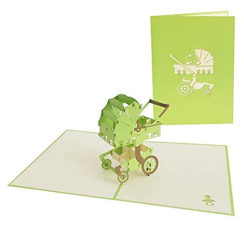 Pop Up Karte 3D Kinderwagen Geburtstagskarten Baby Glückwunschkarte neutral Jungen Mädchen Gutschein Glückwunsch zur Geburt - trendischer Kinderwagen 195