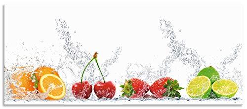 Artland Spritzschutz Küche aus Alu für Herd Spüle 120x50 cm Küchenrückwand mit Motiv Essen Obst Früchte Erbeeren Limette Orange Modern Hell Bunt S6JP