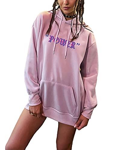 Y2K - Sudadera con capucha para mujer, manga larga, suelta, informal, creativa, con diseño de alas con capucha, con bolsillo, Hip Pop Top de los 90, rosa, M