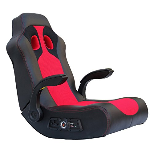 Ace Bayou X-Rocker Vibe Video Game Chair with 2.1 Audio Chair Bluetooth and Arms - Black/Red