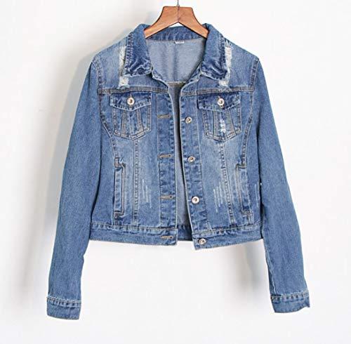 SMACO Jeansjacken Frauen Blue Coat 2020 Autumn Jeansjacken für Frauen-Jeans Einreiher Denim Mäntel weiblich Kleidung,M