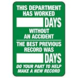 Emedco Safety Tracker Sign - Vinyl, Dry Erase Board - White/Green   This Department Has Worked_ Days Without an