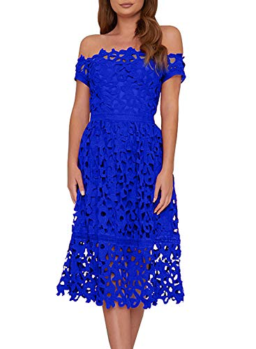 AlvaQ Womens Elegant Short Sleeve Lace Evening Sexy Off Shoulder Midi Dress Formal Cocktail Night Dresses Blue Medium
