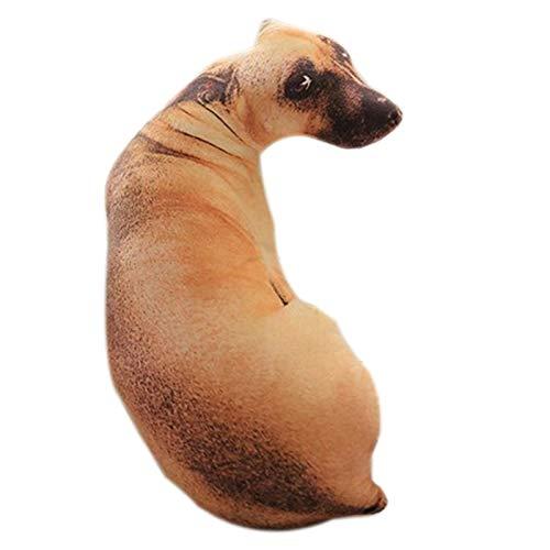 RETYLY 3D Cute Bend Dog Impreso Throw Pillow Animal Realista Cabeza de Perro Divertida Cosplay Ni?Os CojíN de Juguete Favorito para el Hogar