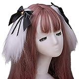 GREEN&RARE Horquillas para el pelo de orejas de conejo largas para mujer, estilo japonés, Lolita Kawaii, conejo animal, dulce, lazo, anime, para fiestas de cosplay, pasadores