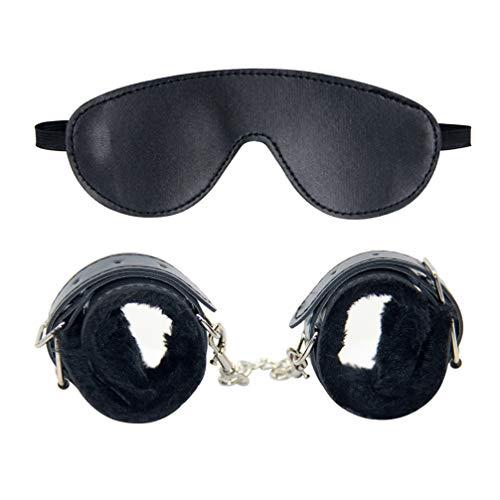 TENDYCOCO 2 piezas de esposas sexuales y conjunto de venda para los ojos que restringe la bondageromance accesorios de juego de roles para parejas