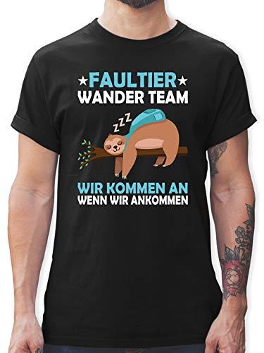 Sprüche - Faultier Wander Team - XL - Schwarz - t Shirt Herren blau XXL - L190 - Tshirt Herren und Männer T-Shirts