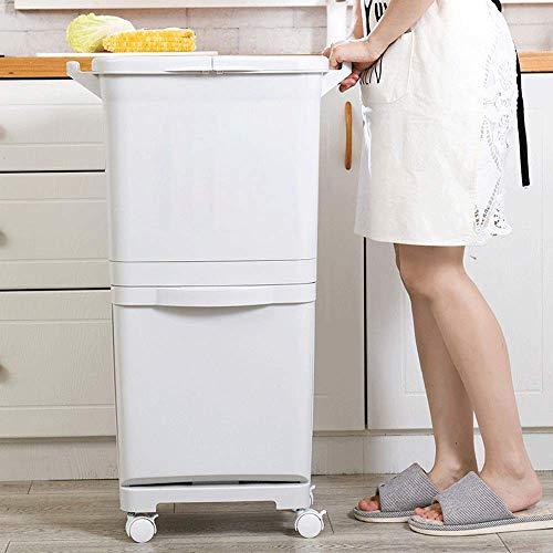 Botes de basura 45L de cocina de doble compartimiento de reciclaje Papelera de alimentos Residuos de plástico Mutli compartimentos for separar los residuos de reciclaje de residuos (color: A, Tamaño: