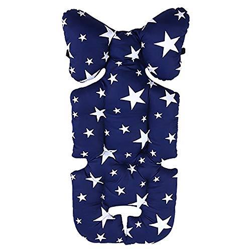laamei Cojín Reductor Universal de Algodón para Silla de Coche, Silla de Paseo, Capazo Protector de Cuerpo para Coche (talla única, A-Estrella Azul Oscuro)