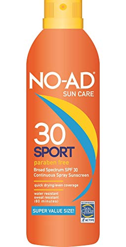 NO-AD Sport Continuous Spray Sunscreen, SPF 30 10 oz (Pack of 2)