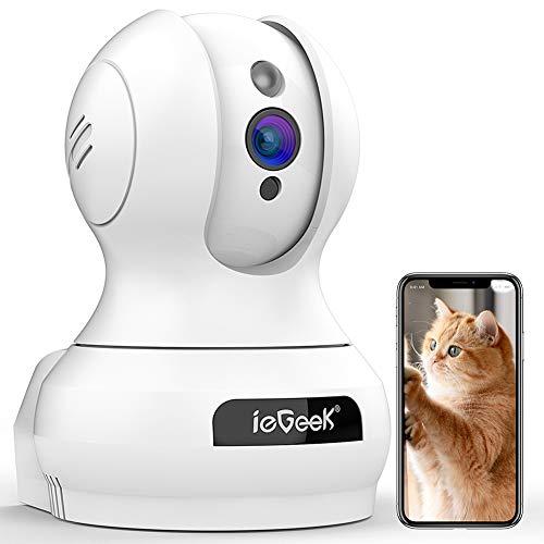 ieGeek ネットワークカメラ400万高画素 2021バージョンアップ ペット見守り老人介護カメラ 室内監視防犯IPカメラ WiFiワイヤレスカメラ ベビーモニター 留守番 自動追跡 顔認識 動体検知 警報通知 暗視機能 双方向音声 Wi-Fi遠隔操作 録画可能 猫/犬/子供/老人見守り 技適認証済み