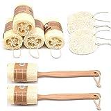 Yueser 10 Piezas Loofah Natural Esponja Luffa con Cordón y Asa para Baño Ducha Corporal Limpieza de Cocina Depurador (3 estilos)