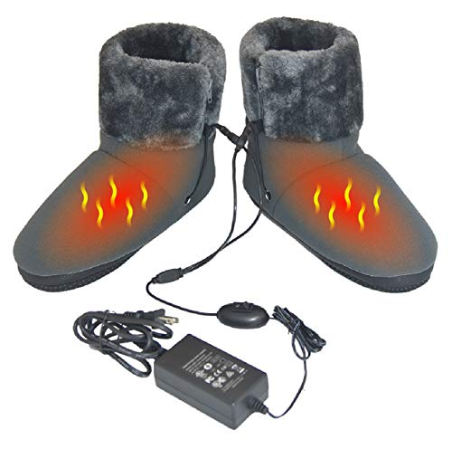 ObboMed MF-2320M Far Infrared Carbon Fiber Heated Foot Warmer Boots Slipper, 12V 20W – Far Infrared wavelength 8-15 μm (Health Range: 4-14 μm), Auto Off, Size M: #41 (fits Foot up to 41)