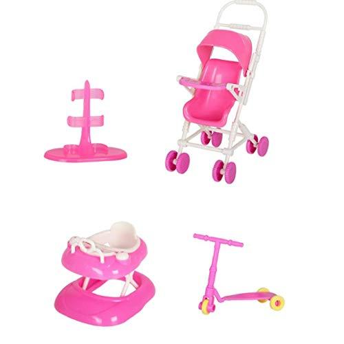 lulongyansf La muñeca de Juguete Juego de casa de muñecas Accesorios con el Cochecito de bebé Walker Vespa muñeca Soporte para la muñeca Toy Dolls