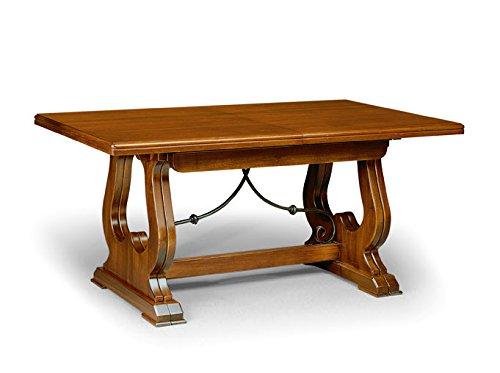 Table Extensible comportant 4 rallonges de 45 cm, Style Classique, en Bois Massif et MDF avec Finition Noyer Brillant - Dim. 180 x 100 x 78