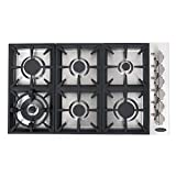 Cosmo COS-DIC366 Drop-In Gas Cooktop with 6 Italian Made Sealed Burners, Cast Iron Grates, Metal Knobs, Liquid Propane Convertible, 36 inch, Stainless Steel