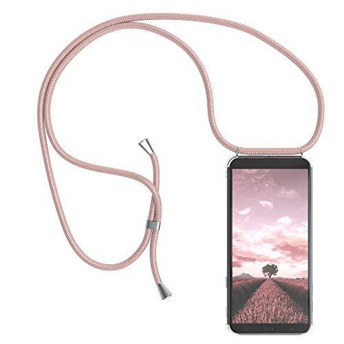 EAZY CASE Handykette kompatibel mit Samsung Galaxy J4 Plus Handyhülle mit Umhängeband, Handykordel mit Schutzhülle, Silikonhülle, Hülle mit Band, Stylische Kette mit Hülle für Smartphone, Rosé-Gold