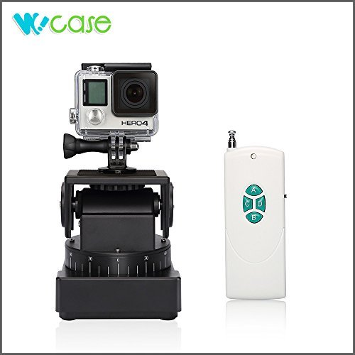 WoCase GoPro Remote Pan Tilt Automatic Motorized Rotating Stabilizer Vertical 60°Max/1.5rpm(15°/Sec) and (Horizontal 230°Max/2.5rpm(15°/Sec)) with Remote Control and Power Bank for Devices (Tripod Compatible) (Compatible with ALL GOPRO, SONY, CONTOUR, HTC Action cameras, iPhone 6/6 plus/5s/5/4s/4 Samsung Galaxy/Note Series)
