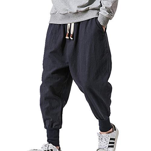 Pantalones Harem de Algodón de los Hombres Sólido Cintura Elástica Ropa de calle Baggy Drop Pantalones Casual Pantalones de los Hombres