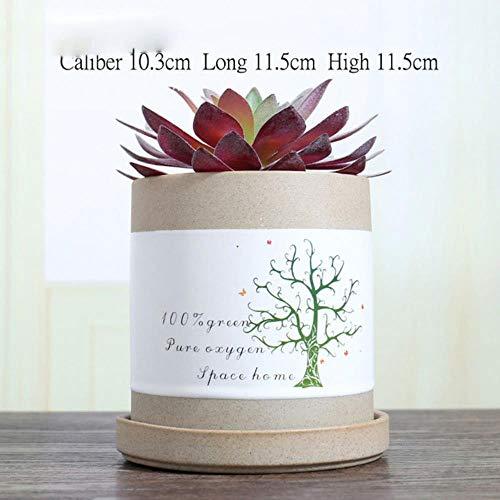 AOM Kreativer keramischer Blumentopf mit Topf-Behälter-saftigem Pflanzer-Topf-Behälter-Grün-Pflanzer-Bonsai-Topf-Ausgangsinnenausstattung, Burgunder