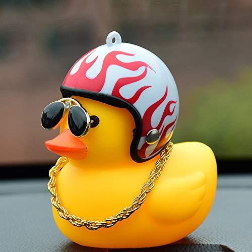 weichuang Autodekoration Society Schöner Lucky Duck Auto Ornament kreativen Dekoration-Auto-Armaturenbrett-Spielzeug mit Helm und Ketten Lustige Autozubehör Innendekoration (Color Name : A)