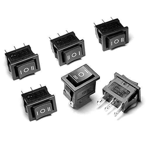 6 Stück Knopfschalter Switch Kippschalter Druckschalter 3 Endpunkte 3 Positionen SP3T EIN-Aus-EIN AC10A, 125V/6 A, 250V