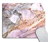 Smooffly Office Mousepad Rectangle Mousepad White Gold Marble Pad Pink Marbled Mouse pad Rose Gold for her Marble Desk