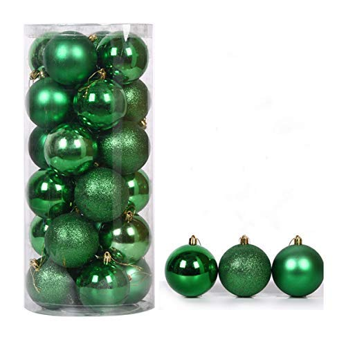 Halloluck Diam 40mm 1.57inch Christmas Ball Pendant, Decorative Shatterproof Christmas Tree Pendants Hanging 40mm Christmas Baubles Balls Ornaments Set, 24 Pack (Green)