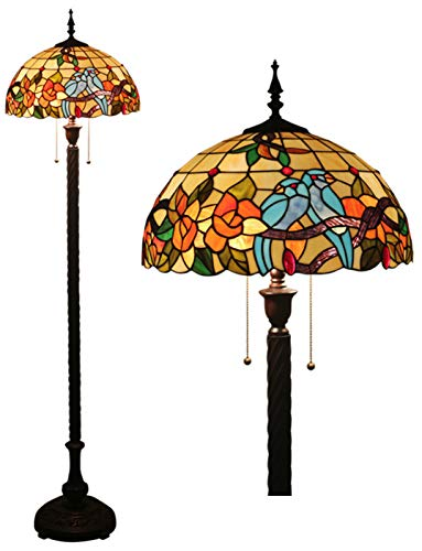 LYEJFF Tiffany Style Floor Lámparas de pie 16 Pulgadas de Vidrio Europeo de Piso Lámparas de Noche Lámpara de Estar Lámpara Lámpara Regalos Mediterránea Pantalla